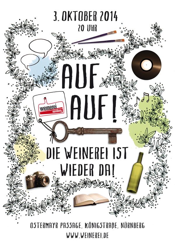 Plakat zur Wiedereröffnung der Weinerei Nürnberg